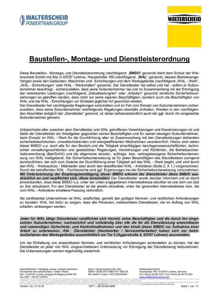 Walterscheid Baustellen-, Montage- und Dienstleisterordnung