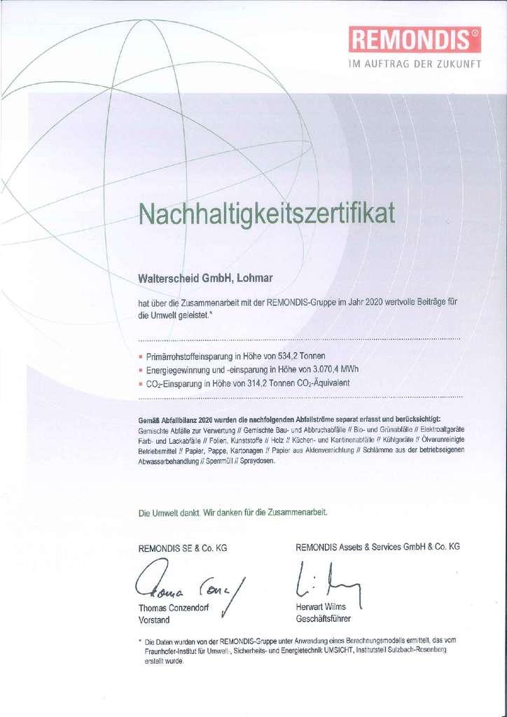 Walterscheid Nachhaltigkeitszertifikat